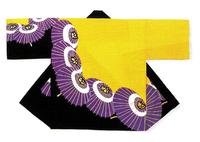 【祭・踊り半天】  タッサーブロード(綿100%) 金銀箔付