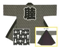 【小紋柄長半天】   シャークスキン(綿100%)