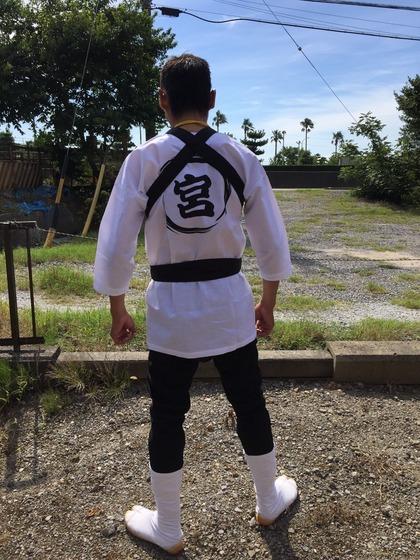 法被の中は鯉口シャツ! 背中に宮崎海岸の「宮」の字をプリントさせていただきました!